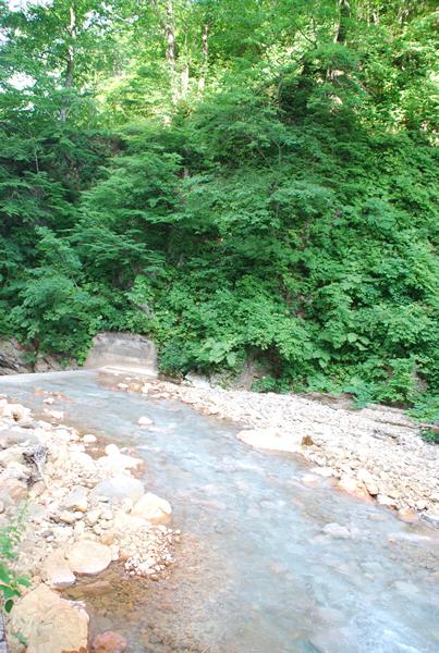 渇水期には温泉の成分で白く見える夏油川の渓谷 渇水期には温泉の成分で白く見える夏油川の渓谷 温泉